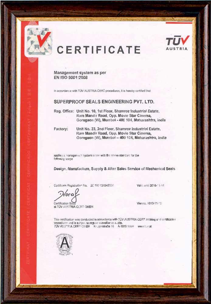 Certifications - Super Proof Seals Engineering Pvt. Ltd